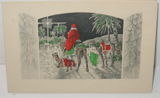 old vintage THREE WISEMEN HOLIDAY CHRISTMAS CARD