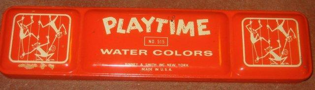 old vintage 1960s Playtime Paint Tin * Monkeys