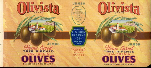 old vintage Olivista Olive Label
