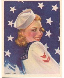 old vintage Patriotic pinup Lithograph * Girl USA