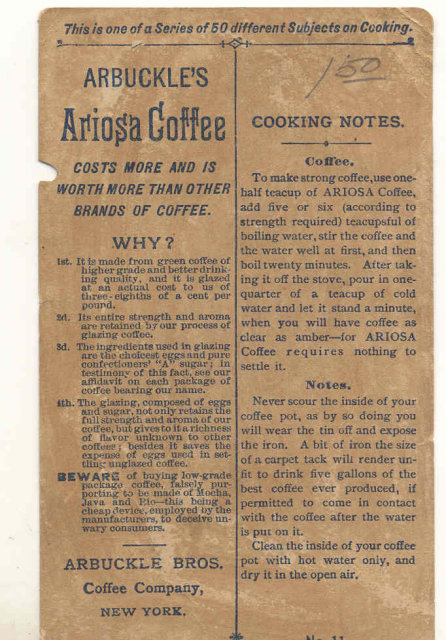 Arbuckles Ariosa Coffee Trade Card