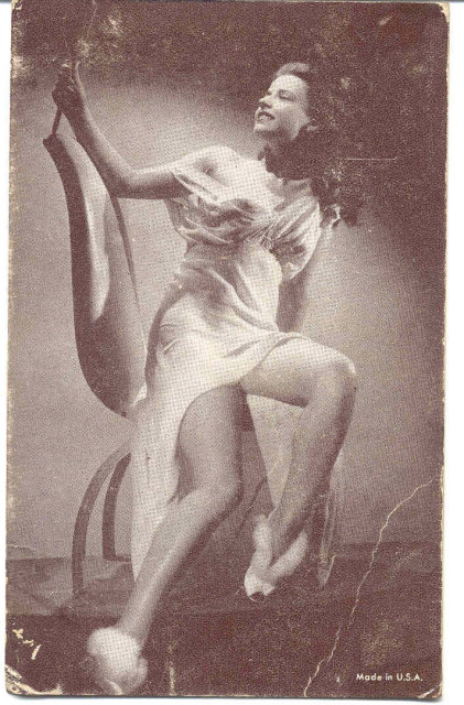 old vintage BW Burlesque Pinup Girl Card 1