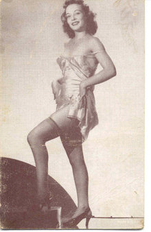 old vintage BW Burlesque Pinup Girl Card 2