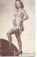 old vintage BW Burlesque Pinup Girl Card 2