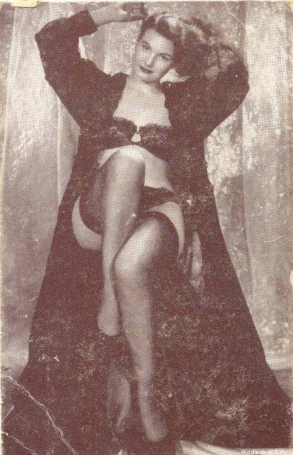 old vintage BW Burlesque Pinup Girl Card 3
