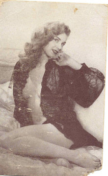 old vintage BW Burlesque Pinup Girl Card 4