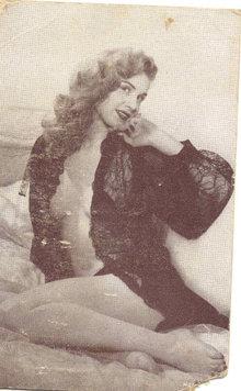 old vintage BW Burlesque Pinup Girl Card 4