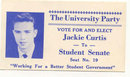 old vintage 1950s Student Seat Card * Jackie Curtis