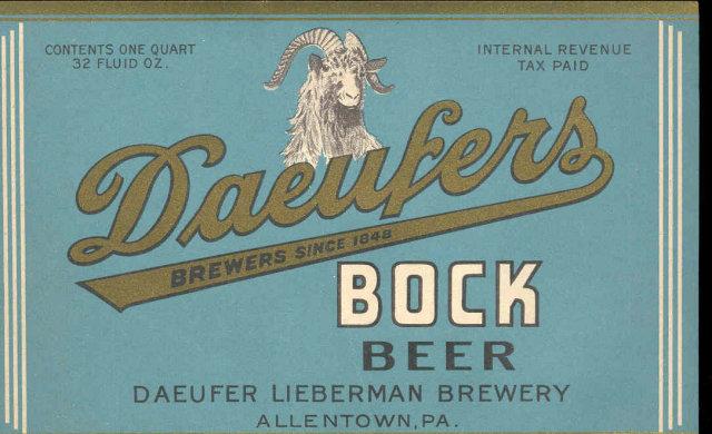 old vintage DAEUFERS Bock Beer Label * Ram