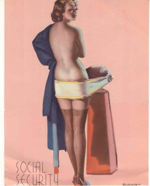 old vintage 1950s ELVGEN SEXY PINUP litho print