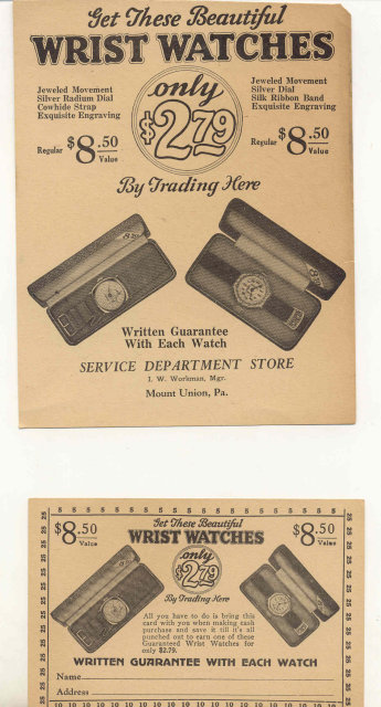 2 old vintage WRIST WATCH paper ads