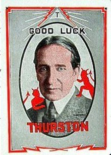Old vintage 1920s Thurston the Magician Throw Out Devil Card