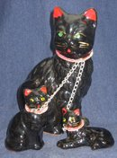 3 old vintage Japan Cat Kittens Statue Chained