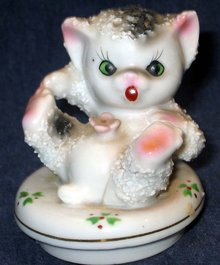 old vintage Kitten Jar Bottle Lid * Cat Meow JAPAN