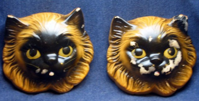 2 old vintage Cat Hangar Face Masks sculptures