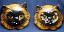 2 old vintage Cat Hangar Face Masks sculptures