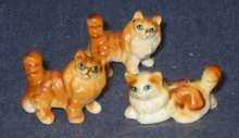 3 old vintage TABBY CAT STATUE FIGURINES