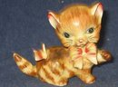 old vintage BOW TIE CAT STATUE figurine #150