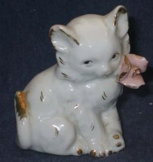 old vintage WHITE GOLD SPOTTED FLORAL CAT statue figurine