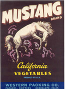 old vintage 1950s MUSTANG HORSE vegetable label