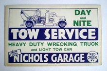 old vintage Red Creek NEW YORK Tow Truck sign