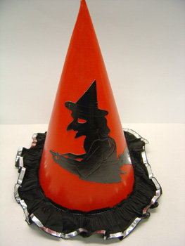 old vintage 1950's Halloween Flying Witch Hat