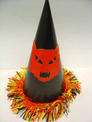 old vintage 1950's Halloween Orange Cat Hat