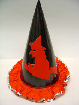 old vintage 1950's Halloween WITCH on broom Hat