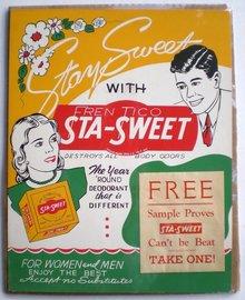 old vintage 1930 STA-SWEETAd Store dIsplay sign