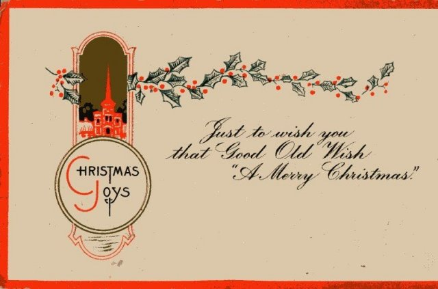 Embossed Seasons Greetings Post Card * Posted written on