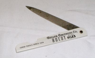 old vintage HELLER BROTHERS Celluloid Advertising Nail File