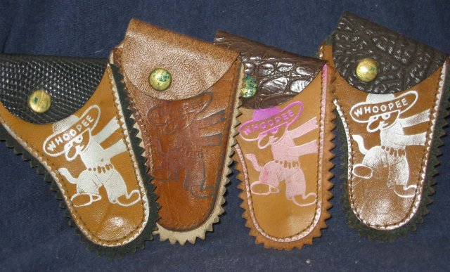 4 old vintage Leather Mini Gun Toy Holsters