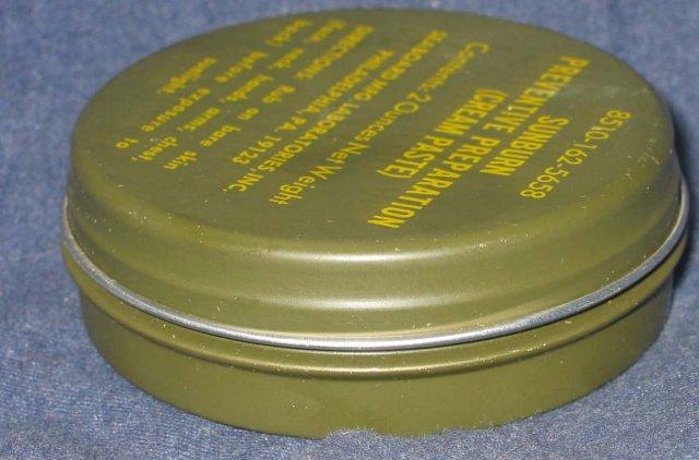 old vintage SUNBURN PREVENTIVE PASTE Military tin * vietnam