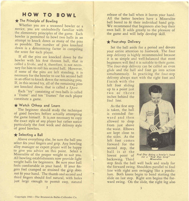 old vintage 1941 HOW TO BOWL instruction booklet