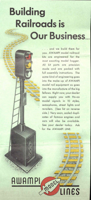 old vintage AWAMPI RR MODEL LINES ad flyer