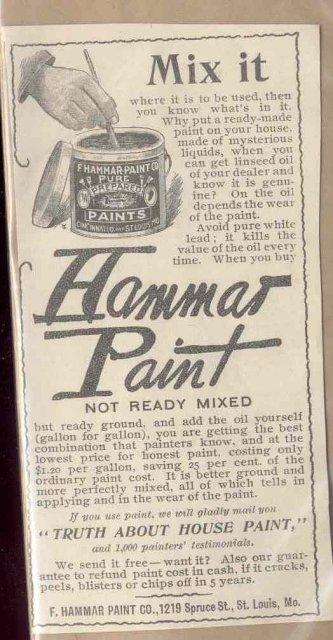 old vintage HAMMAS PAINT paper ad