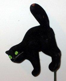 old vintage 1960s FLOCK BLACK CAT Floral Stick