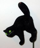 old vintage 1960s FLOCK BLACK CAT Floral Stick