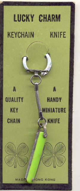 old vintage 1960s LUCKY CLOVER mini key chain