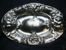 old vintage SILVERPLATE serving platter ~ engraved