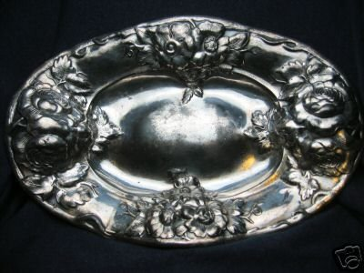 old vintage SILVERPLATE serving platter ~ engraved