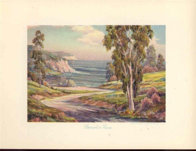 old vintage 1950s CALIFORNIA LANDSCAPE litho