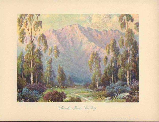 old vintage 1950s CALIFORNIA LANDSCAPE litho print