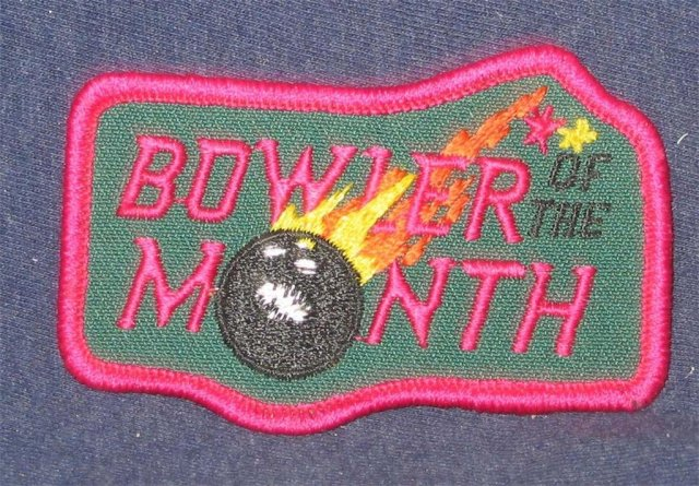 old vintage BOWLER OF THE MONTH Bowling patch