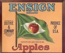 old vintage ENSIGN APPLES CRATE fruit LABEL