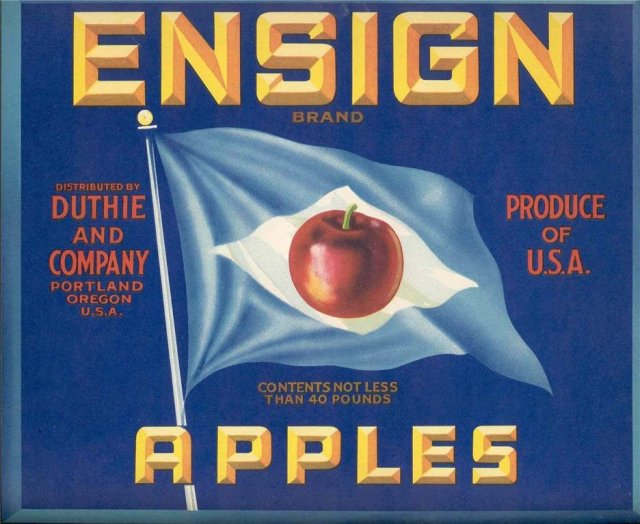 old vintage ENSIGN APPLES CRATE fruit LABEL