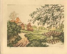 old PARIS ETCHING SOCIETY French Landscape Print