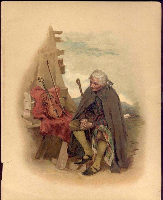 old vintage MAN W VIOLIN LITHO print