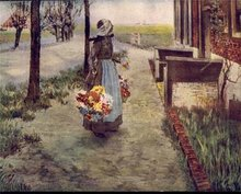 old vintage 1920 DUTCH GIRL litho flower print