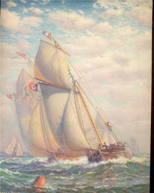 old vintage SAILING SHIP litho print